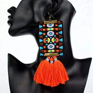 Jewelry - Boho Long tassels cloth /fabric earrings